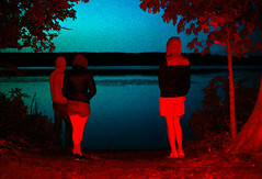 The blood moon rises (nateabrown) Tags: camping flash red sunset lake gels friends outdoors michigan bloodmoon gooutside