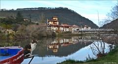La patrona de la lancha (Luisa Gila Merino) Tags: río unquera cantabria población ría puente pueblo gato barca reflejos monte agua invierno hierba