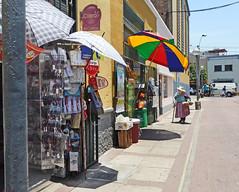 Street scene in Barranco (elewitus Peru) Tags: barranco street scene umblrellas shops
