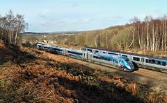 New Passing Old. (Neil Harvey 156) Tags: railway 802212 heatonlodgejunction mirfield transpennineexpress tpenova1 nova1 9m08 class802 multipleunit bimode class185 dmu