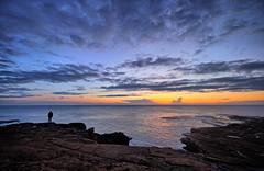 Seems like a nice viewpoint (Vest der ute) Tags: sea spain xt2 sky seascape man clouds sunrise rocks fav25 fav200