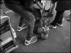 Looking for Storage (GColoPhotographer) Tags: streetphotography bergamo bw market legs bianconero street ortomercato blackandwhite fruit cart wholesale