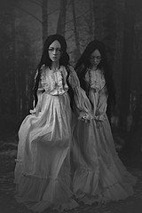 escape (dolls of milena) Tags: bjd abjd resin doll dolls elfdoll vivien white dress twins sisters running escape dark forest woods retro vintage victorian night