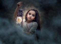 Seen ({jessica drossin}) Tags: forceofnature jessicadrossin portrait child girl dress fog smoke light lantern dark long hair face wwwjessicadrossincom
