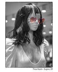 Three Hearts (NoJuan) Tags: mannequin storedisplay storedummy microfourthirds micro43 mirrorless m43 mft penf olympuspenf 425mm panasonic425mm silverefexpro bw blackwhite blackandwhite digitalbw selectivecolor selectivedesaturation cutout cutouts