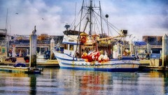 Sitting By The Dock of the Bay (Christina's World :) Tags: blue sky bird clouds harbor boat pelican brightcolors fishingboat birdsflying california red colors swimming reflections bay coast colorful bright sandiego digitalart creative seals dockbay exhibitionoftalent usa landscape outdoors downtown mood unitedstates scenic textures nostalgia quaint touristattraction topaz waterscene largebird kurtpeiser water quote 4766 lobsterpots buoys