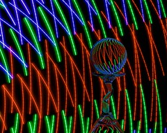 Zig & Zag (Karen_Chappell) Tags: colour color colours colors led glow ball orb sphere round rgb red green blue black refraction lightpainting longexposure stilllife glass lines abstract zigzag multicoloured colourful