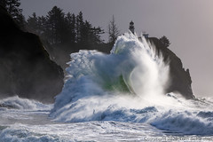 King of Curls (pdxsafariguy) Tags: capedisappointment pacific ocean waves lighthouse ilwaco washington usa navigation trees sea coast coastline water landscape beacon cliff tower cape surf wave guidance building pacificnorthwest storm powerful dangerous tomschwabel