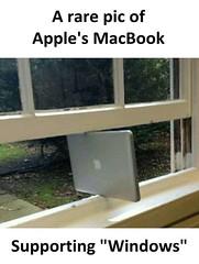 Apple's MacBook supporting Windows (gagbee18) Tags: aww funny iphone macbook memes windows