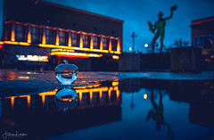 Lost Visions (Fredrik Lindedal) Tags: glassboll reflection reflections puddle puddlegram poseidon pov gothenburg göteborg moody stadsteatern avenyn lindedal lights sky sweden sverige skyline moodygram