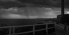 Virga at dusk (OzzRod) Tags: pentax k1 zenitarm50mmf17 зенитарм stitch panorama sky clouds precipitation virga walkway coast dusk strzelecki newcastle monochrome blackandwhite