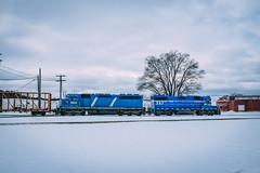 GLC Works at Clare, MI (dangaken) Tags: snow winter weather white michigan puremichigan northernmichigan michiganwinter fuji fujifilm fujinon 23mm prime primelens fujifilmx100t fujix100t x100t fujix100 fujifilmx100 glc greatlakescentral clare claremi centralmichigan rr railroad railway greatlakescentralrailroad yard railyard trainyard train locomotive glc397 emdgp382 emd gp382 glc329 rebuiltemdsd402 emdsd402 sd402