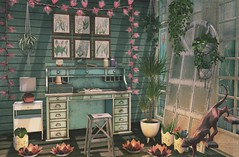 In good tune (Rose Sternberg) Tags: deco decor home furniture garden interior outdoor landscape second life january 2020 event exlusive serenity style belle the herbalist set desk stool suitcase book jars scissor lucas lameth luc boutique flourish sales studio bodhi leaf lights bulb lamp red capiz lotus candle stealthy cat sculpture rose metal sways planter cactus grass bunny hangging plant acorn botanical frames dust flower
