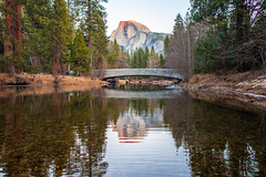 On the Eve (Thomas Hawk) Tags: america california nationalpark usa unitedstates unitedstatesofamerica yosemite yosemitevalley bridge reflection river water fav10 fav25 fav50 fav100