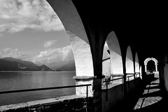 Eremo.... (pj@rc) Tags: europe europa italia italy italian lake maggiore lago eremo santacaterinadelsasso christian acqua water architettura architecture archi montagne mountains lombardia foto photo bw black white bianconero nikon d3s tour 2019 ombre shadows