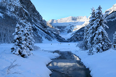Water,Ice, and Snow (Anthony Mark Images) Tags: winter winterscenery beautiful beautifulmorning banff banffnationalpark alberta canada snow snowcoveredtrees frozenlake lakelouise lovely stream water reflections nikon d850 flickrclickx people
