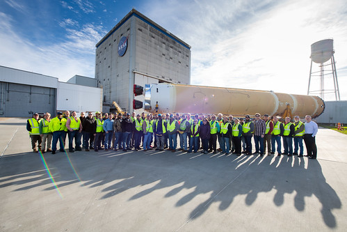 NASA Moves First Artemis SLS Rocket Stage from NASA's Factory to Barge