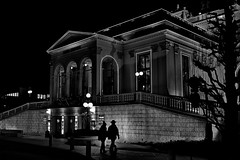 evening at the casino (heinzkren) Tags: schwarzweis blackandwhite monochrome urban night couple man woman people human building austria bade light street streetphotography candid casino kurpark silhouette badenbeiwien eosr canonr architectur architektur winter