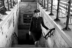 'Eleanor' (AndrewPaul_@Oxford) Tags: 1940s wartime waaf womens auxiliary air force railway station horsted keynes southern subway environmental portrait natural light monochrome