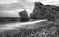 aphrodite's rock (Karl-Heinz Bitter) Tags: travel reisen europa reise zypern beach water rock waves stones fineart cyprus floating aphrodite monochrom