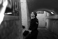 'Eleanor' (AndrewPaul_@Oxford) Tags: 1940s wartime waaf womens auxiliary air force natural light monochrome railway station subway horsted keynes southern environmental portrait