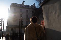 Couple in conversation - early morning (kevin Akerman) Tags: couple talking corner street london sunlight morning