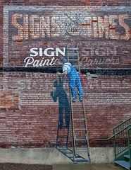 Trompe l'oeil at the American Sign Museum (sharon'soutlook) Tags: trompeloeil americansignmuseum cincinnati ohio outdoors bricks painter letters text