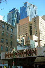 From the Marathon Grill to the heights of the W Philadelphia Hotel (neil.gilmour) Tags: marathon grill philadelphia buildings towers hotel condos apartments offices brick stone glass pennsylvania sansom 16th streets blue sky