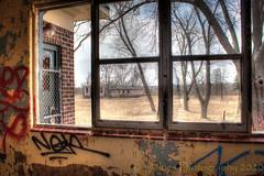 The Viewpoint (HWW) (13skies) Tags: hww windowwednesday canont3i urbanexploring urbex hdr inside highdynamicrange camp30 bowmanville rundown happywindowwednesday graffiti paint old history bracketshooting