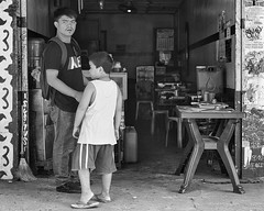 Curious (Beegee49) Tags: street people man boy father son blackandwhite monochrome sony a6000 bw bacolod city philippines asia