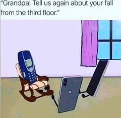 Grandpa tell us again about your fall from third floor (gagbee18) Tags: aww funny funnymemes grandfather haha iphone lol memes mobile nokia