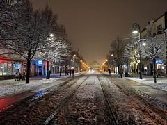 one January evening (Slávka K) Tags: january evening night light winter street city košice 2020 slovakia mainstreet view snow trees people walking