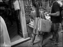 Bag-Like (GColoPhotographer) Tags: streetphotography bag bw mat ricoh street woman blackandwhite bianconero grii