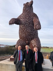 Seeing new Dunbar Bear firsthand with cllrs Norman Hampshire & John McMillan