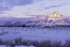 Pink Tetons (Amy Hudechek Photography) Tags: nature winter cold freezing grand teton national park gtnp amyhudechek wyoming snow mountains fence landscape