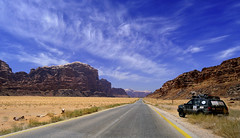Road to Wadi Rum - Jordan. (hanna_astephan) Tags: jordan jordania jordanien wadirum roads 4x4 safari mountains rocksformation skies outdor travel tourism summer