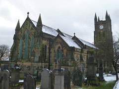 Holy Trinity Church (The Chairman 8) Tags: queensbury westend holytrinitychurch 2020 queensburyparishchurch queensburychurch snow 175years tower church trees churchyard churchtower pinnacles windows graveyard gravestones grass headstones clock