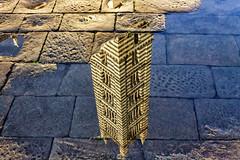 Riflesso in piazza Duomo -  Campanile del Duomo di Siena / Reflected in Duomo Square  - Bell tower of the Siena Cathedral (Eugenio GV Costa) Tags: approvato acqua riflesso mirror tower water strada street piazza cathedral duomo pozzanghere puddles square