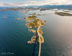 Atlantic Ocean Road (Norway) (Andrea Moscato) Tags: andreamoscato norvegia norge bokmål nynorsk north europe view vivid vista day light luce shadow ombre blue white red yellow water sea art artist nature natura natural naturale fiordo fiord mare landscape trail history historic panorama tourist attraction rock stones dji mavic air quadcopter drone overlook island green street road grass bridge ponte isola deep ocean oceano car clouds sky nuvole cielo atlantic waves strada