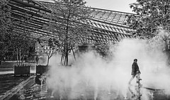 Les Halles (albyn.davis) Tags: blackandwhite people walking halles paris france europe travel steam smoke trees architecture building modern