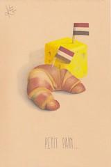 Petit pain... (Klaas van den Burg) Tags: funny humor colored pencil cheese croissant flags