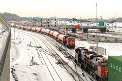 Turcot Ouest meet (Michael Berry Railfan) Tags: cn3158 ge generalelectric gevo et44ac cn canadiannational windmilltrain cnx319 montreal montrealsub quebec winter snow