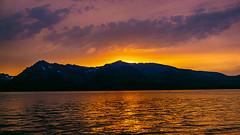 Sunset over Mountains and Jackson Lake (woodchuckiam) Tags: sunset mountains lake jacksonlake sky clouds reflection grandtetonnationalpark wyoming woodchuckiam
