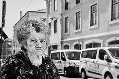 Frau (rainerneumann831) Tags: bw blackwhite street streetscene ©rainerneumann urban monochrome candid city streetphotography blackandwhite frau portrait lisboa
