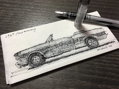 Mustang Sally (schunky_monkey) Tags: fountainpen penandink ink pen illustration drawing draw sketching sketch art napkin napkinsketch convertible musclecar car classic mustang ford