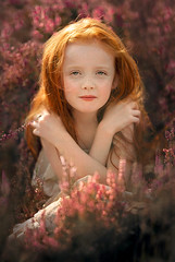 Femm ({jessica drossin}) Tags: jessicadrossin face portrait girl child redhair redhead kid hands hair flowers heather outdoors nature natural light purple warm summer
