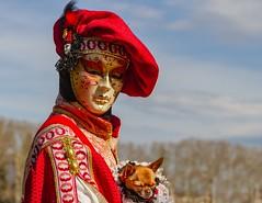 Confiance ... (trust) (Larch) Tags: carnaval costume chien dog elegant élégant pet annecy hautesavoie france confiance homme man trust couleur color colour rouge red déguisement disguise chapeau hat bérét
