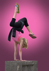 Gymnastic Skills (Scott 97006) Tags: girl kid blonde cute gymnast handstand pink