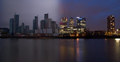 Day/Night Canary Wharf (Dan H Boyle Photography) Tags: canarywharf london longexposure sea canon canondslr canon700d dusk thames river riverthames architecture building buildings city cityscape cities reflection reflections