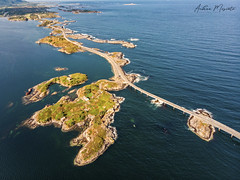 Atlantic Ocean Road (Norway) (Andrea Moscato) Tags: andreamoscato light norge europe day view north vivid vista luce norvegia nynorsk bokmål blue shadow red sea white art nature water yellow artist natural natura ombre naturale history landscape mare trail fiord fiordo road street panorama green rock island stones air tourist historic overlook attraction mavic drone dji quadcopter ocean bridge grass car strada waves deep atlantic ponte oceano isola